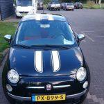 Fiat 500 2008 zwart met witte strepen